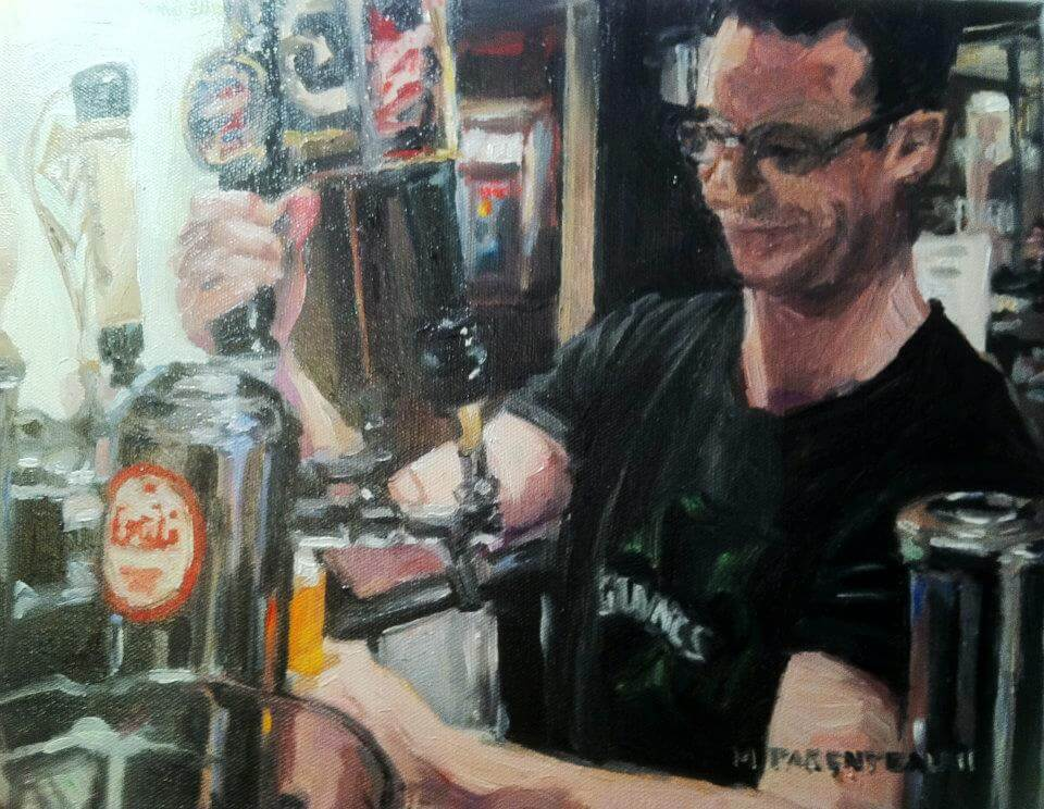 Man Pouring Beer Oil on Canvas 11x14