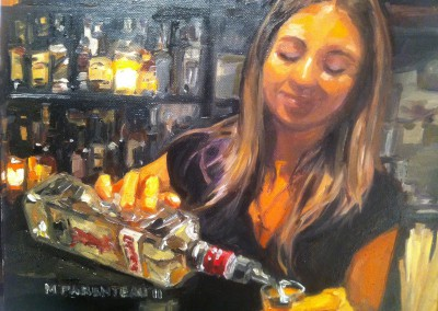 Girl pouring Gin