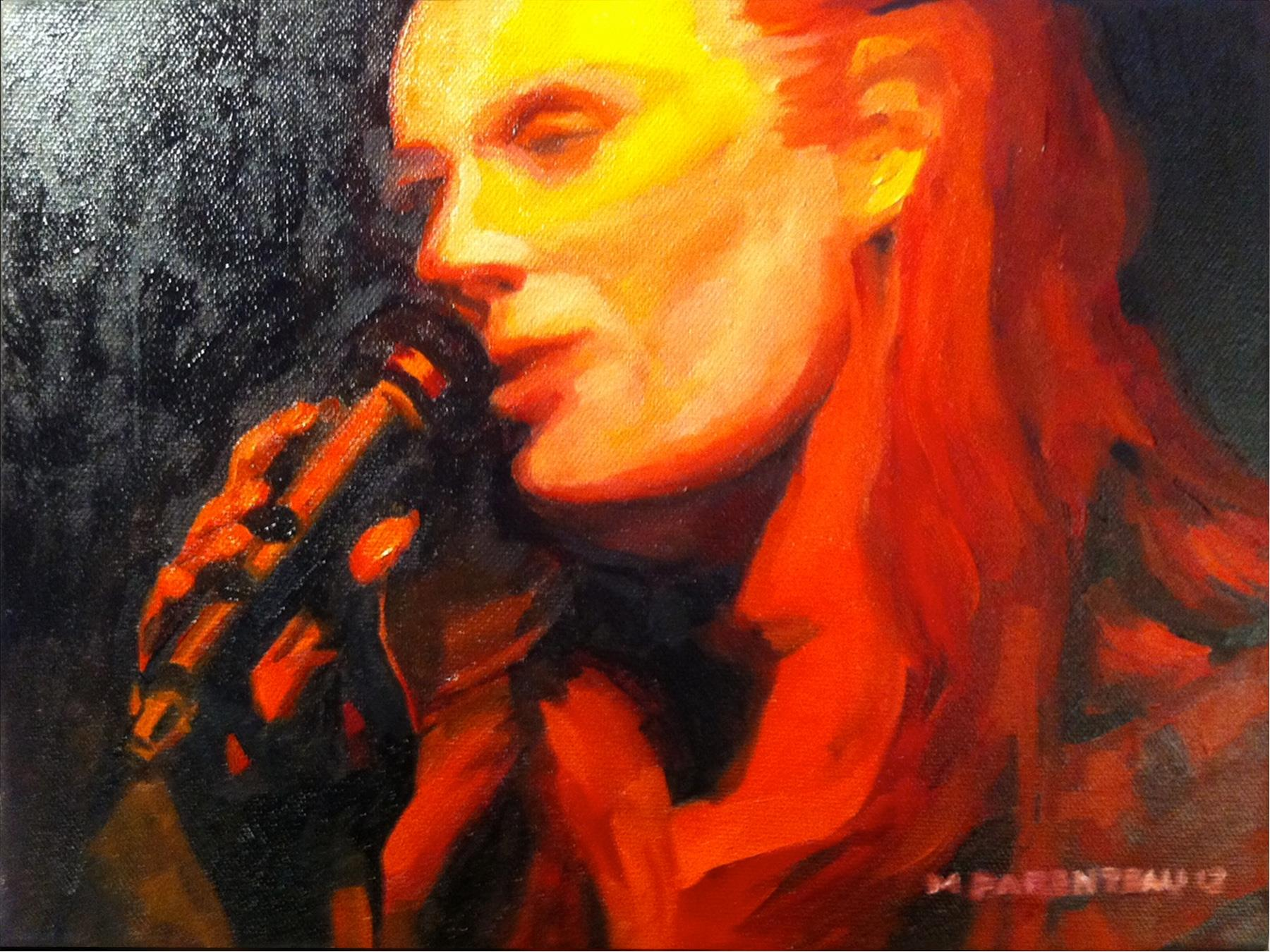 Singer on Fire 12 x 9 OIl on Canvas