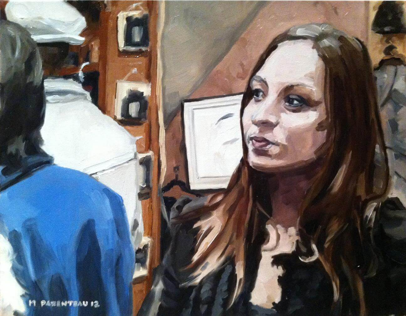 Young Woman at an Art Show Oil on Canvas 18 x 14